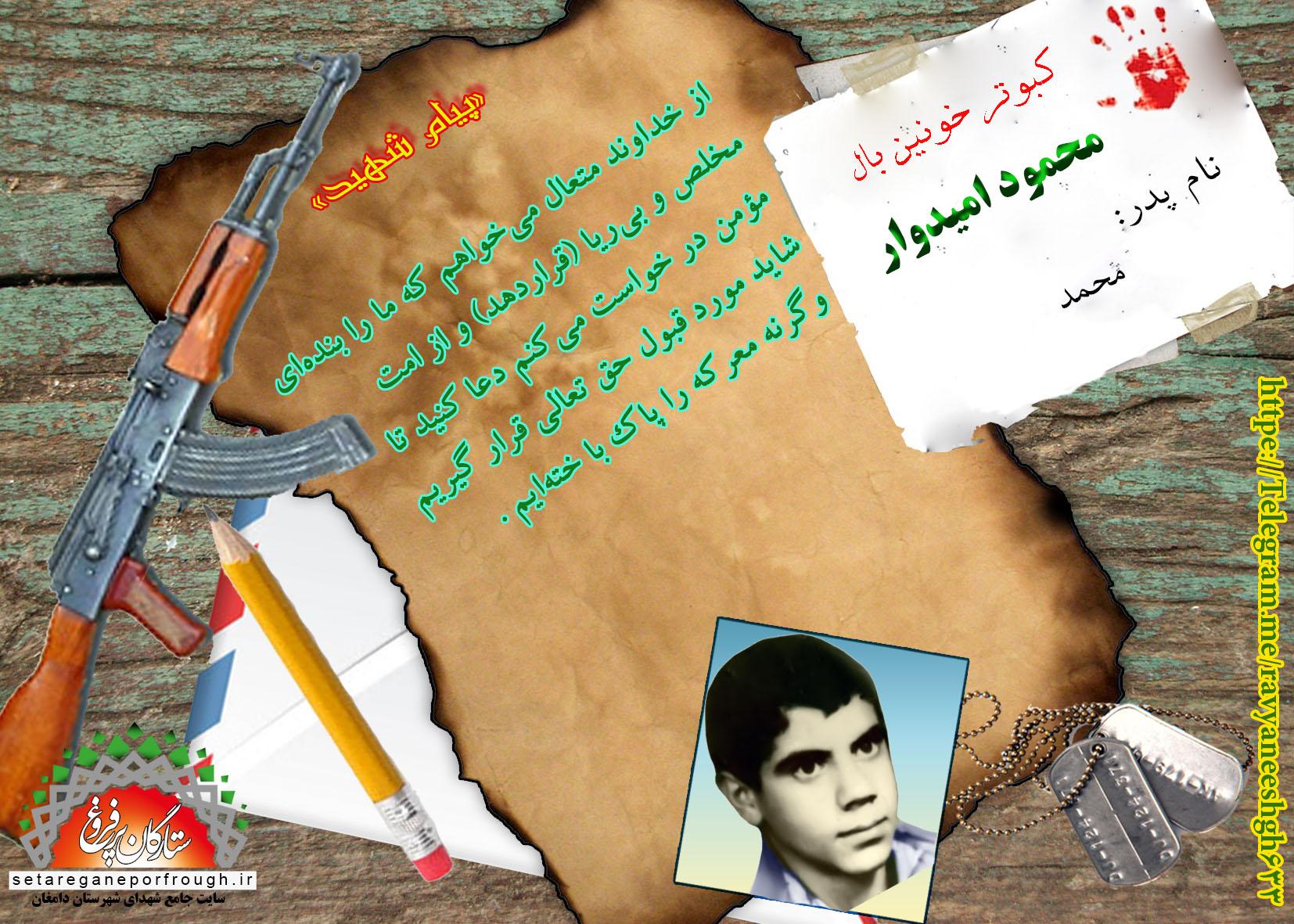 پیام و گزیدهای از وصیتنامه شهید محمود امیدوار