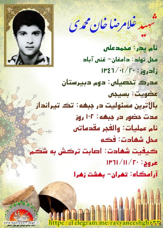 شناسنامه شهید غلامرضا خان محمدی