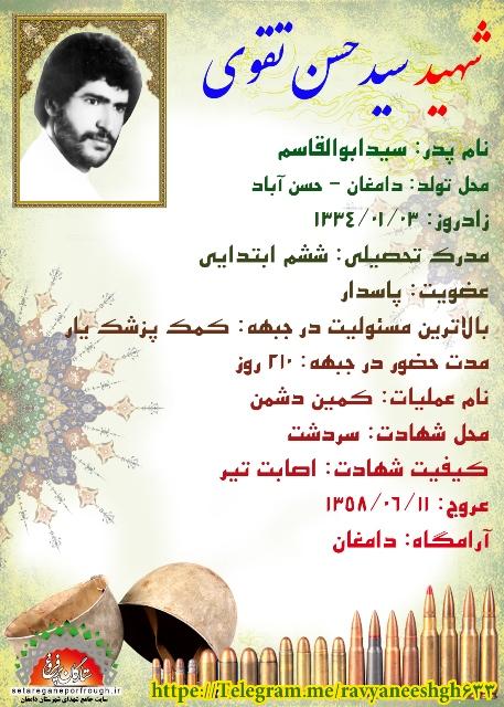 شناسنامه شهید سید حسن تقوی