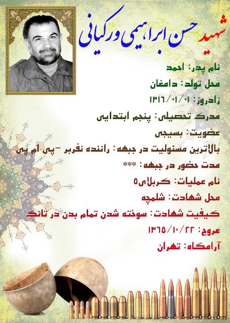 شناسنامه شهید حسن ابراهیمیورکیانی