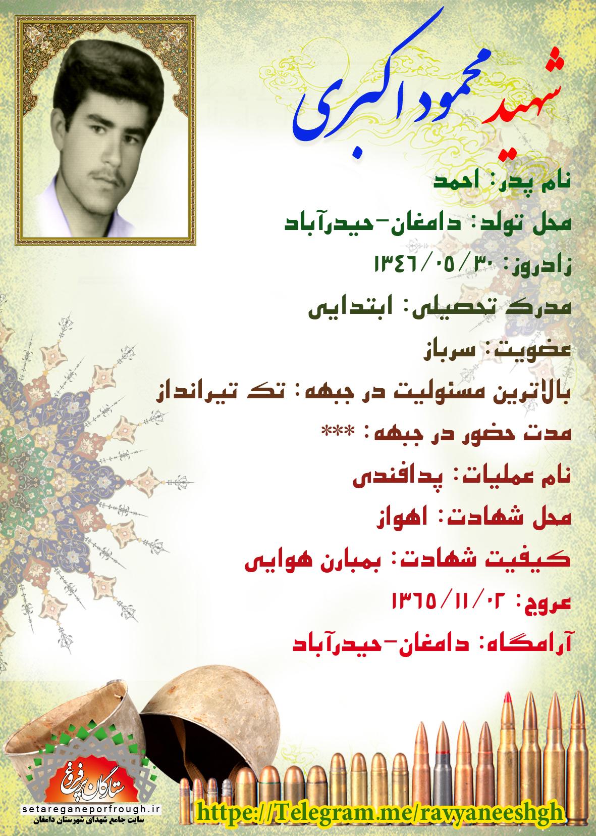 شناسنامه شهید محمود اکبری