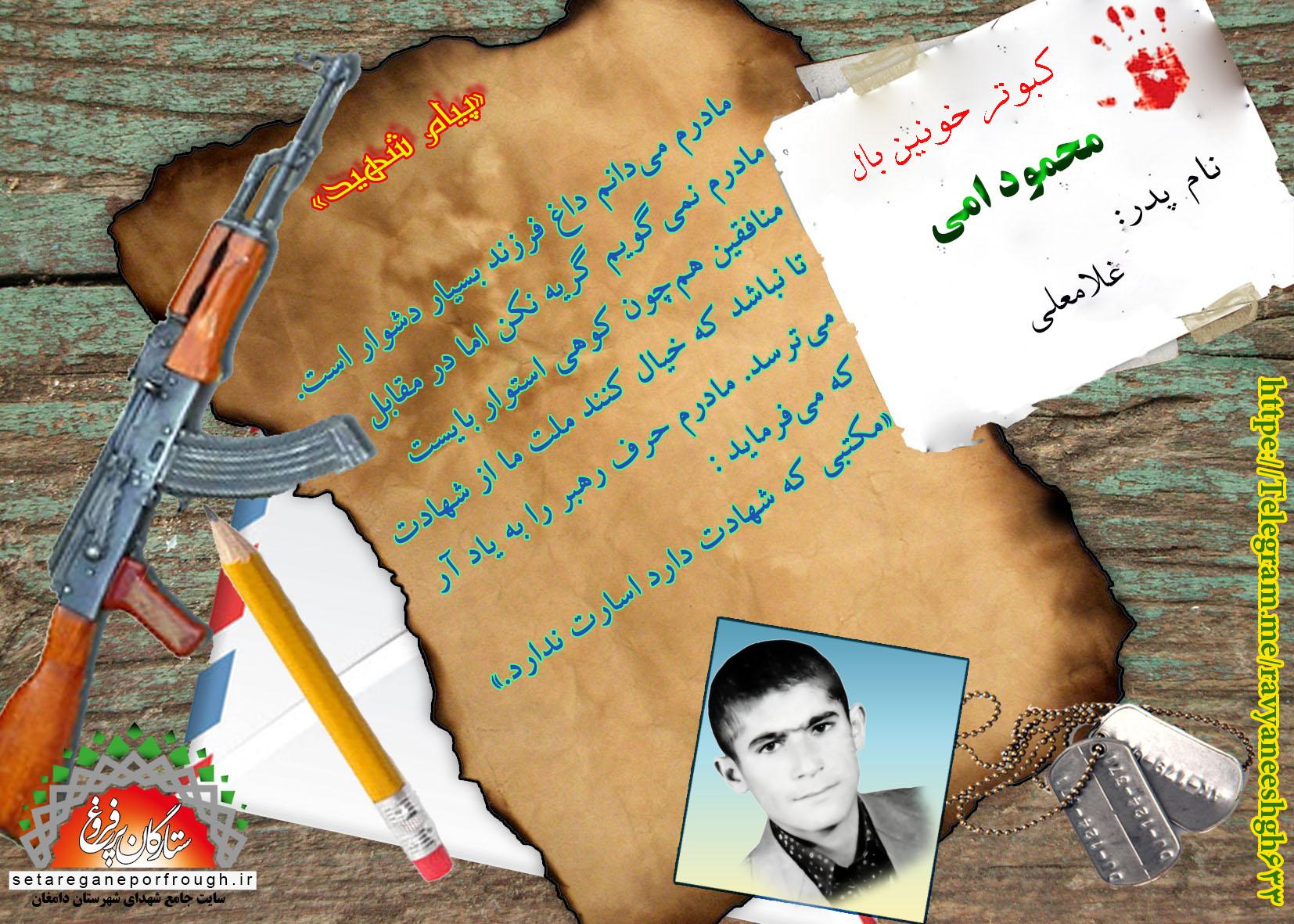 پیام شهید و گزیدهای از وصیت نامه شهید محمود امی