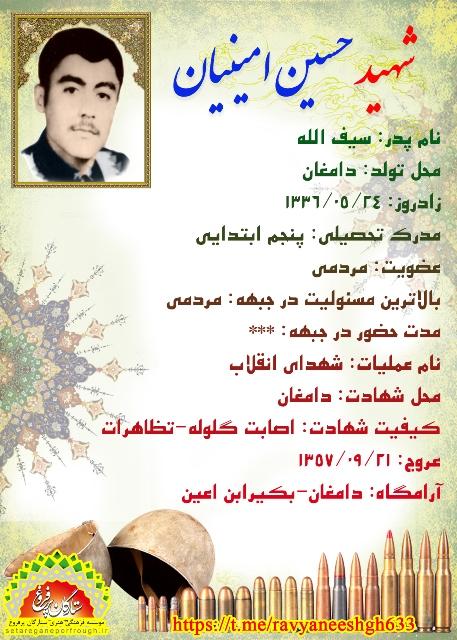 شناسنامه شهید حسین امینیان