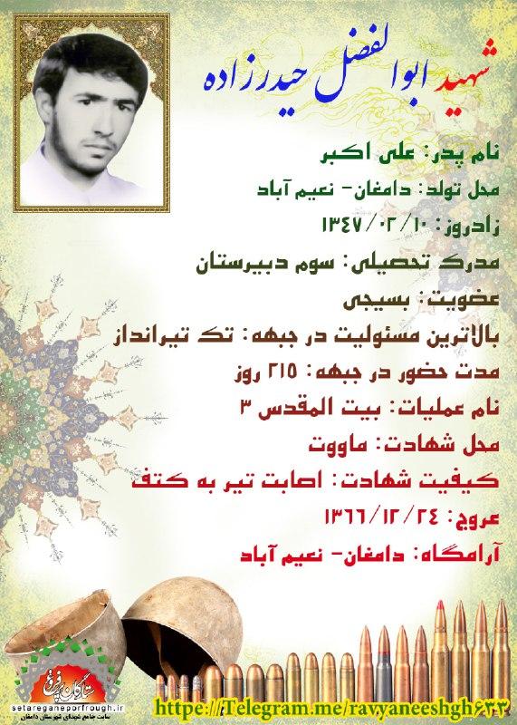 شناسنامه شهید ابوالفضل حیدرزاده