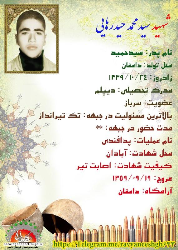 شناسنامه شهید سید محمد حیدرهایی