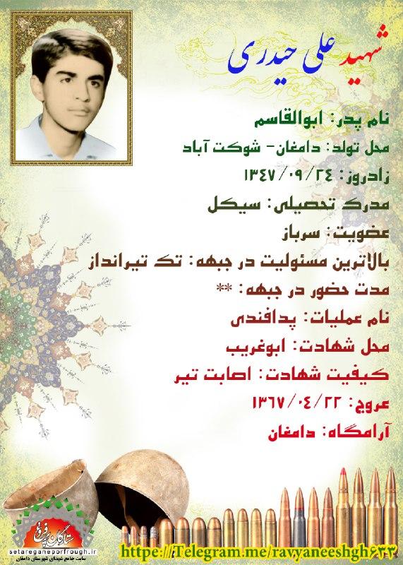 شناسنامه شهید علی حیدری