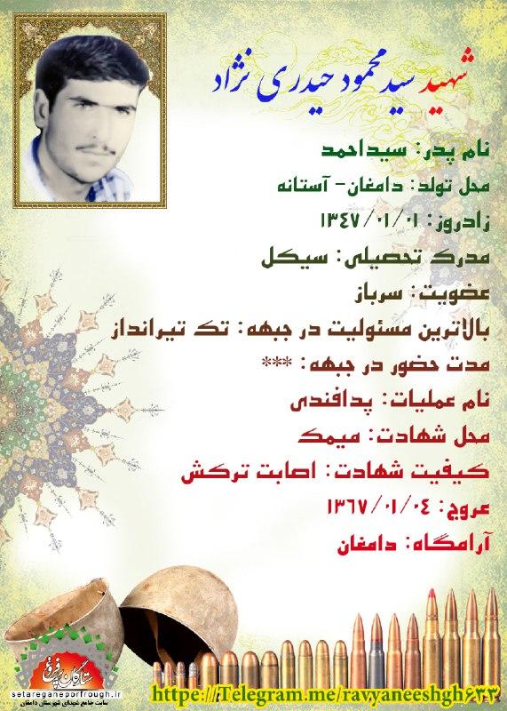 شناسنامه شهید سید محمود حیدری نژاد