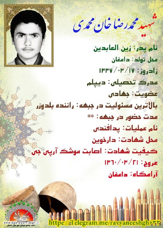 شناسنامه شهید محمدرضا خان محمدی