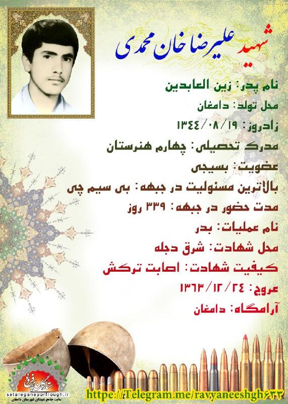 شناسنامه شهید علیرضا خان محمدی
