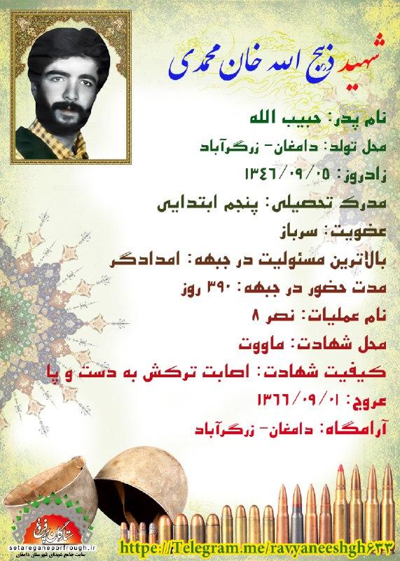 شناسنامه شهید ذبیح الله خان محمدی