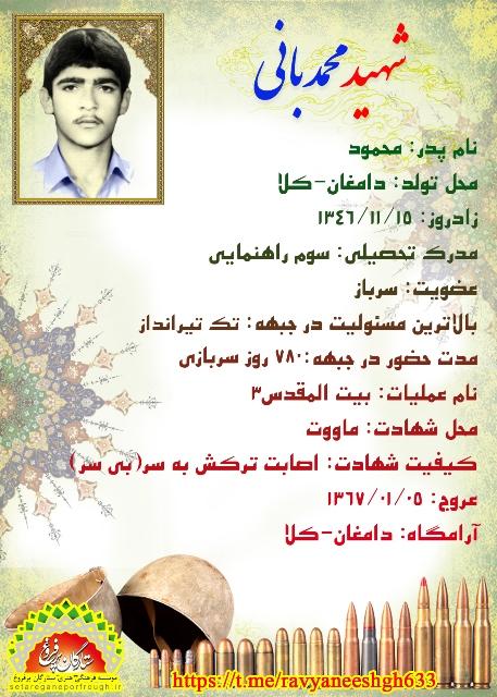 شناسنامه شهید محمد بانی