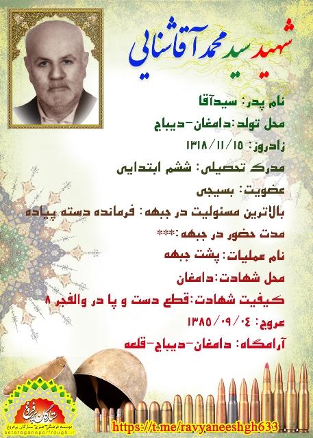 شناسنامه شهید سید محمد آقاشنایی