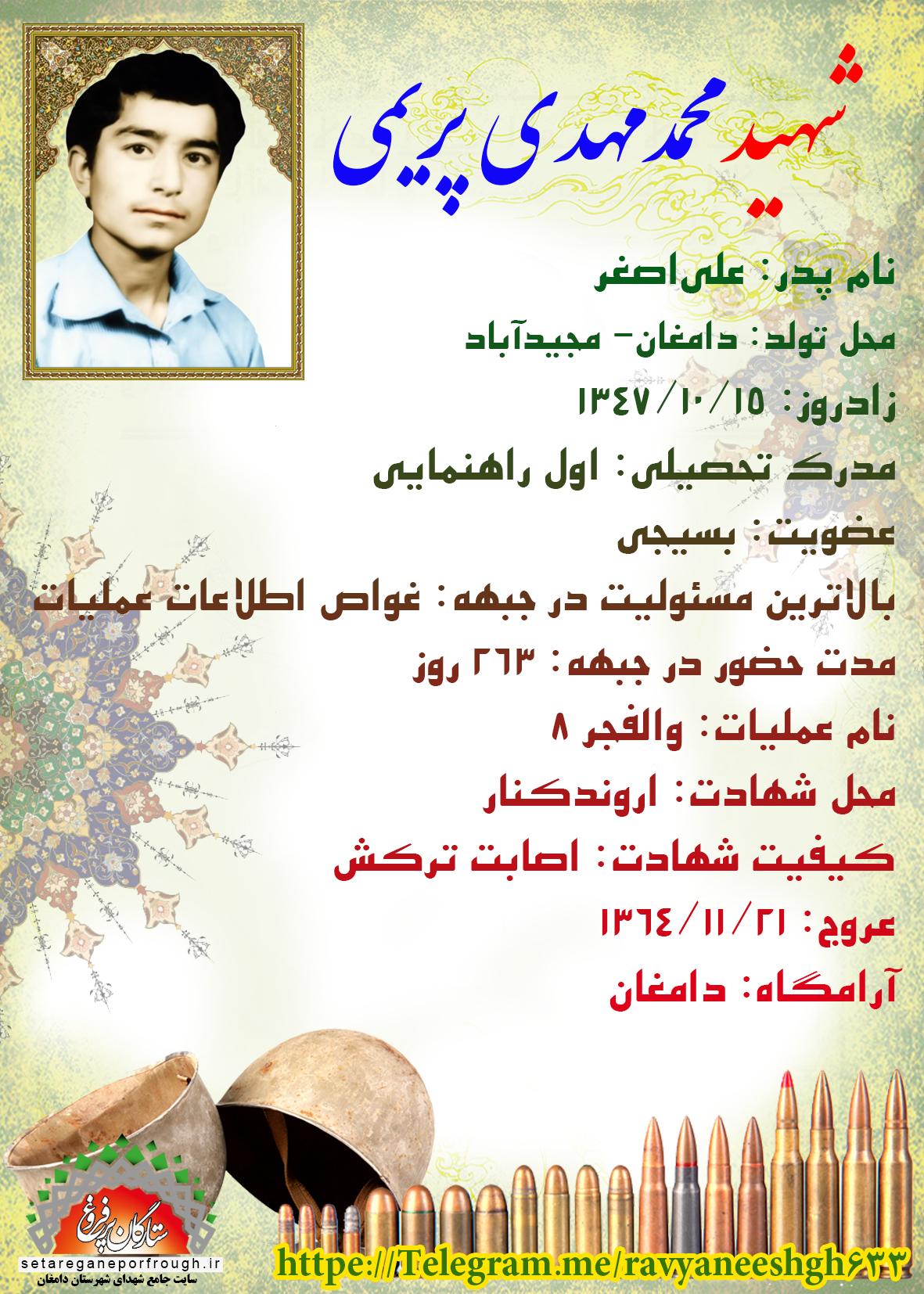 شناسنامه شهید محمدمهدی پریمی