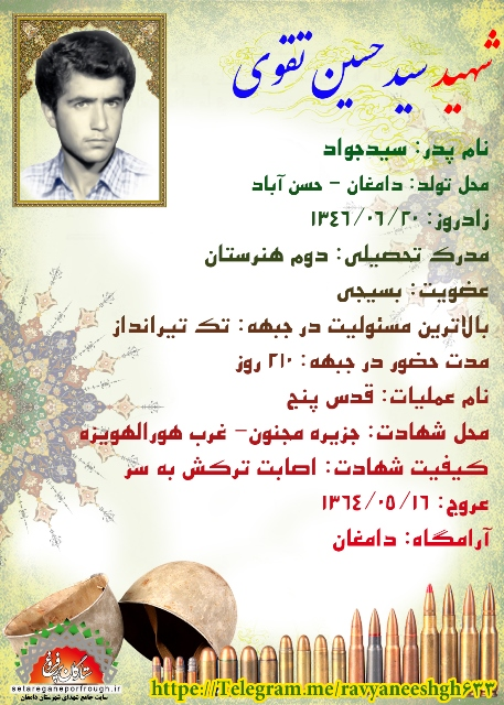 شناسنامه شهید سید حسین تقوی