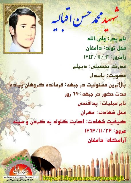 شناسنامه شهید محمدحسن اقبالیه