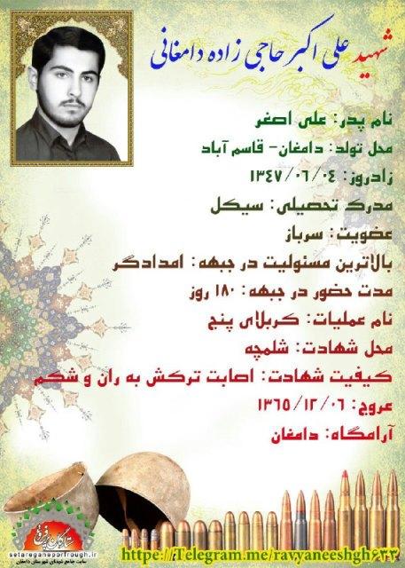 شناسنامه شهید علی اکبر حاجی زاده دامغانی