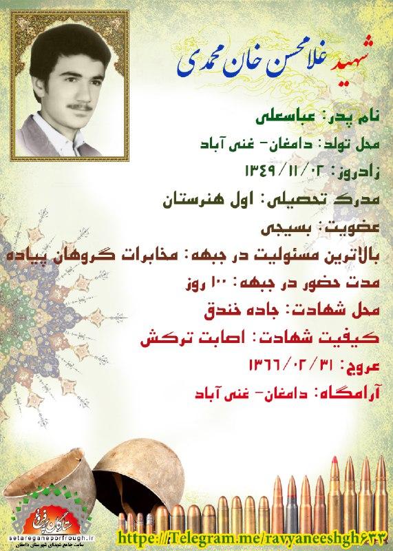 شناسنامه شهید غلامحسن خان محمدی