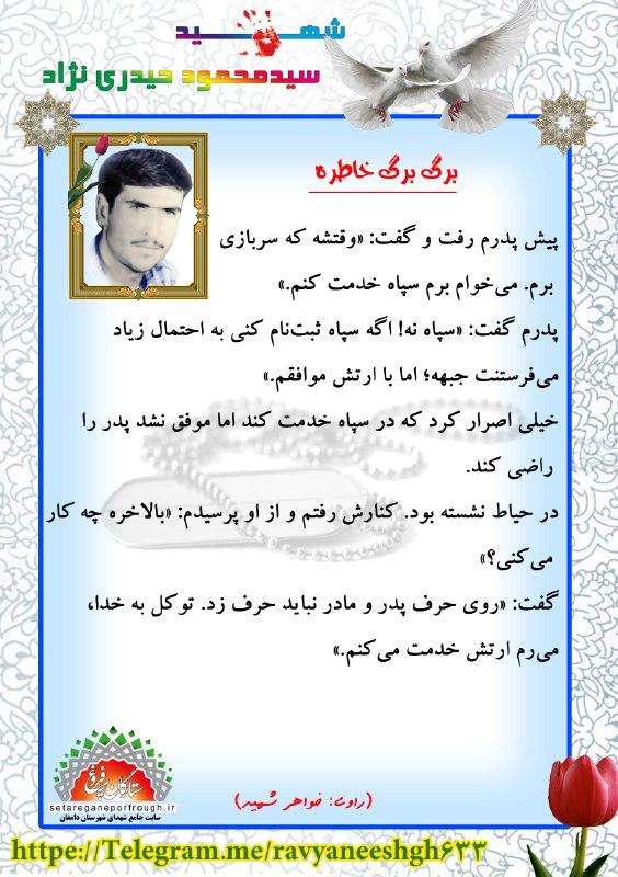 خاطرات شهید سید محمود حیدری نژاد