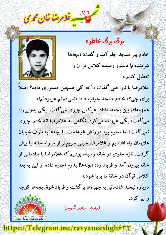 خاطرات شهید غلامرضا خان محمدی