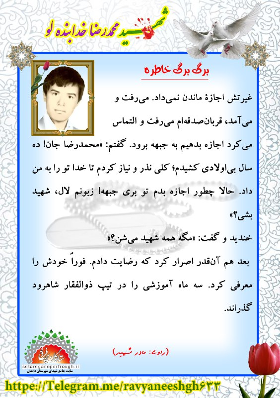 خاطرات شهید محمدرضا خدابنده لو