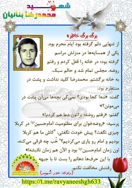 خاطرات شهید محمدرضا بنائیان