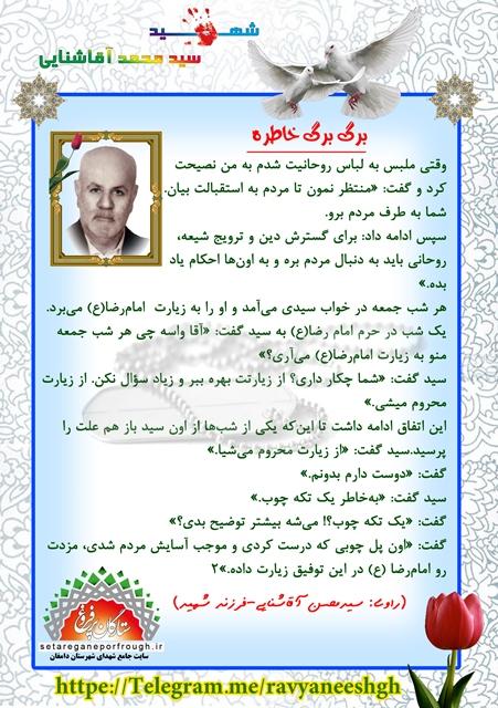 خاطرات شهید سید محمد آقاشنایی