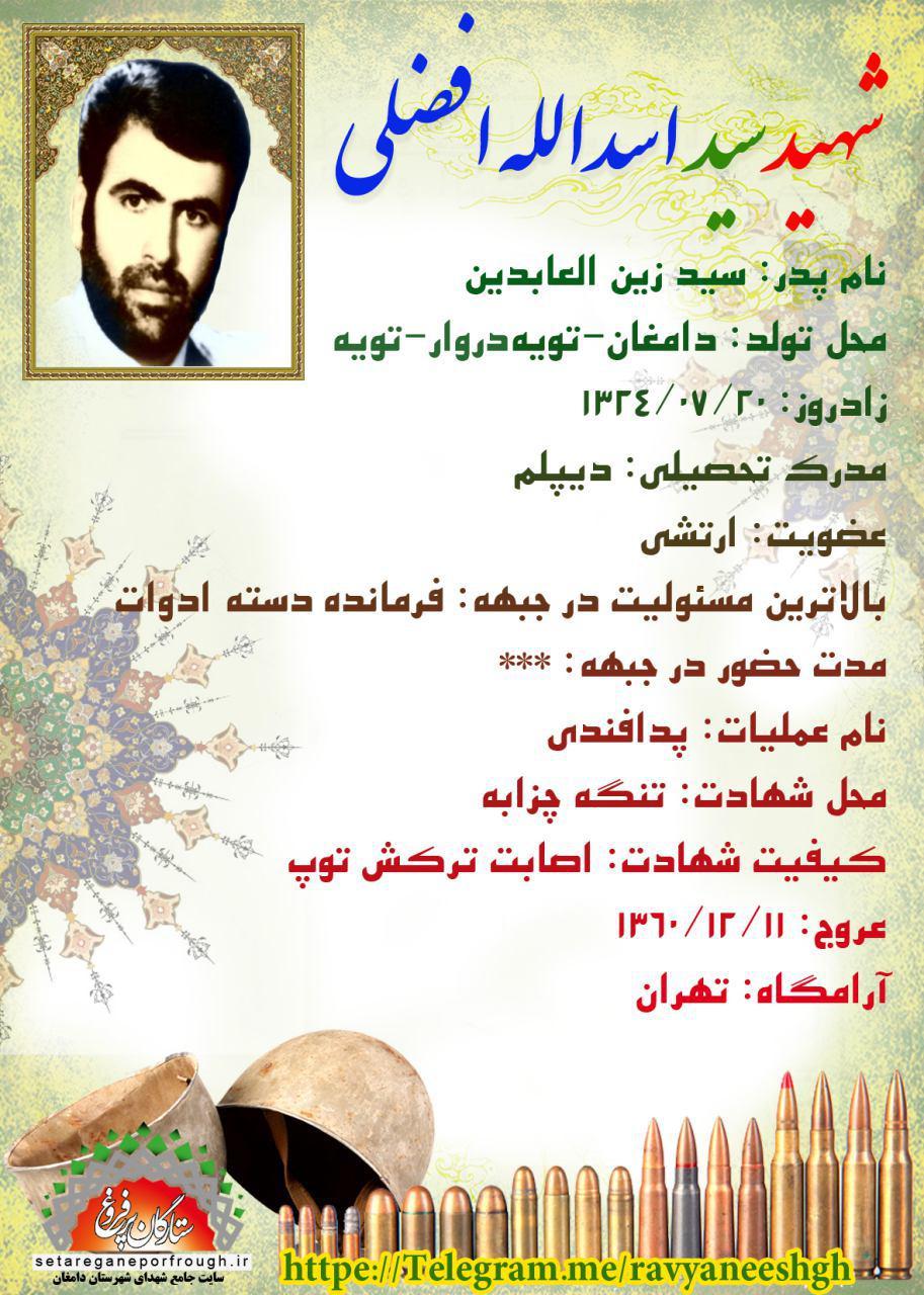 شناسنامه شهید سید اسداللهافضلی