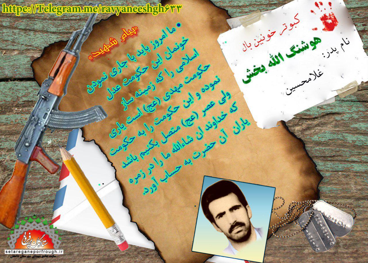 پیام شهید_گزیدهای از وصیتنامه شهید هوشنگ اللهبخش
