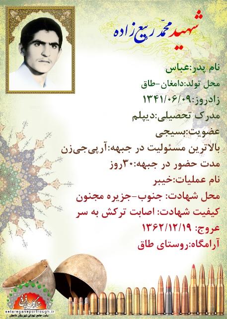 شناسنامه شهید محمد ربیع زاده