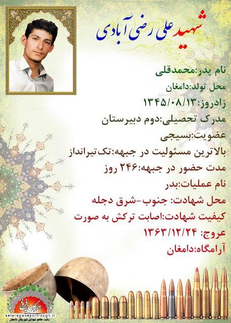 شناسنامه شهید علی رضی آبادی