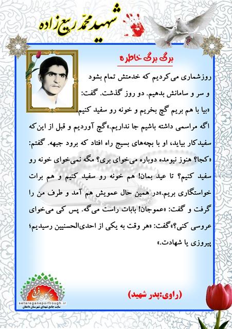 خاطرات  شهید محمد ربیع زاده