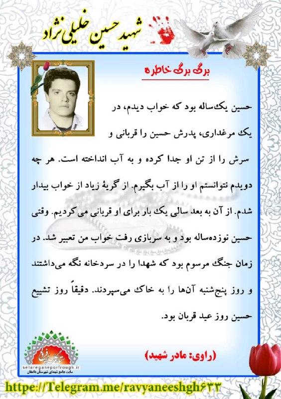 خاطرات شهید حسین خلیلی نژاد