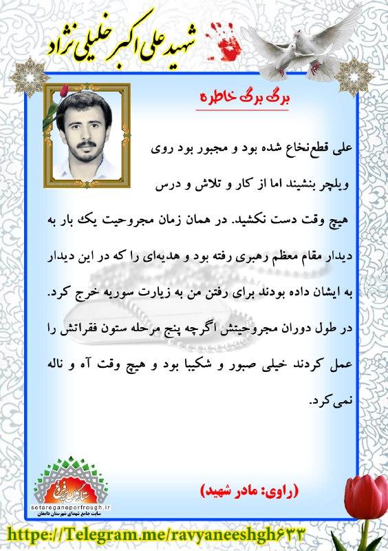 خاطرات  شهید علی اکبر خلیلی نژاد