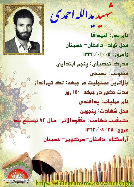 شناسنامه شهید یدالله احمدی