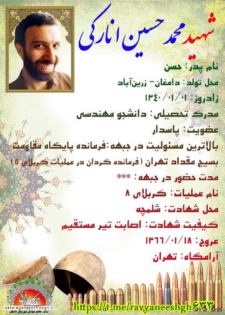 شناسنامه شهید محمدحسین انارکی